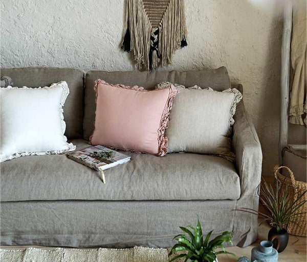 Linen Pillow Cover, Home Decorative Gray Throw Pillow, Pink Sofa Pillows, Home Decor-Paintingforhome