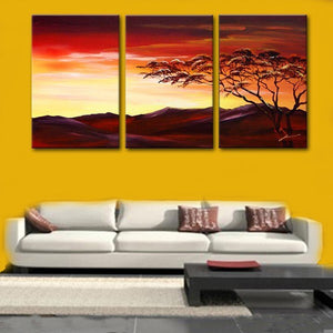 Landscape Painting, Forest Tree Painting, Canvas Art Painting, 3 Piece Wall Art-Paintingforhome