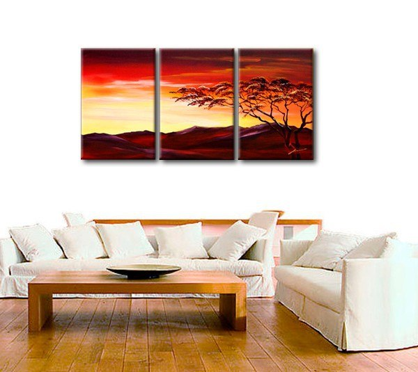 Landscape Painting, Forest Tree Painting, Canvas Art Painting, 3 Piece Wall Art