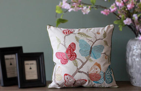 Beautiful Embroider Butterfly Cotton and linen Pillow Cover, Decorative Throw Pillow, Sofa Pillows, Zig Zag Pillow, Home Decor - Paintingforhome