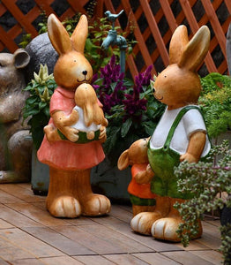 Extra Large Rabbit Family Statue, Rabbit Statues, Animal Statue for Garden Ornament, Villa Courtyard Decor, Outdoor Decoration, Garden Ideas-Paintingforhome