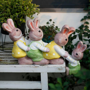 Cute Rabbits in the Garden, Animal Resin Statue for Garden Ornament, Lovely Rabbits Statues, Outdoor Decoration Ideas, Garden Ideas-Paintingforhome