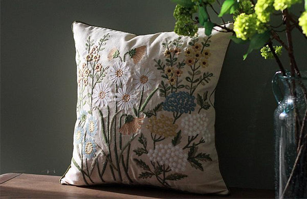 Embroider Flower Cotton and linen Pillow Cover, Decorative Throw Pillow, Sofa Pillows, Home Decor-Paintingforhome