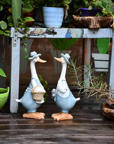 Duck Couple Statue for Garden, Animal Statue for Garden Courtyard Ornament, Villa Outdoor Decor Gardening Ideas-Paintingforhome