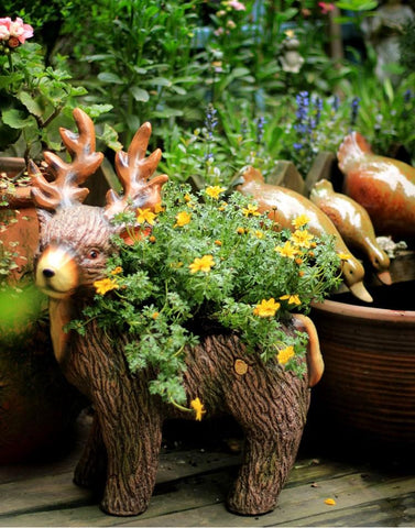 Extra Large Elk Statue, Elk Flower Pot, Animal Statue for Garden Ornament, Villa Courtyard Decor, Outdoor Decoration, Garden Ideas-Paintingforhome