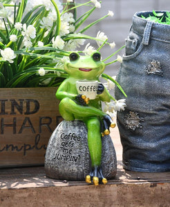 Frog Drinking Coffee Statue for Garden, Animal Statue for Garden Courtyard Ornament, Villa Outdoor Decor Gardening Ideas-Paintingforhome