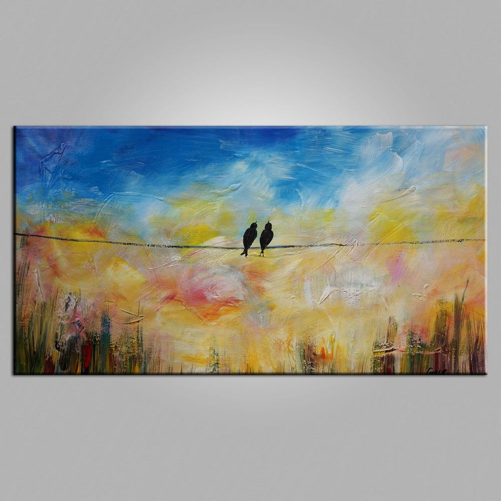 Modern Art, Contemporary Art, Love Birds Painting, Art for Sale, Living Room Wall Art, Canvas Art