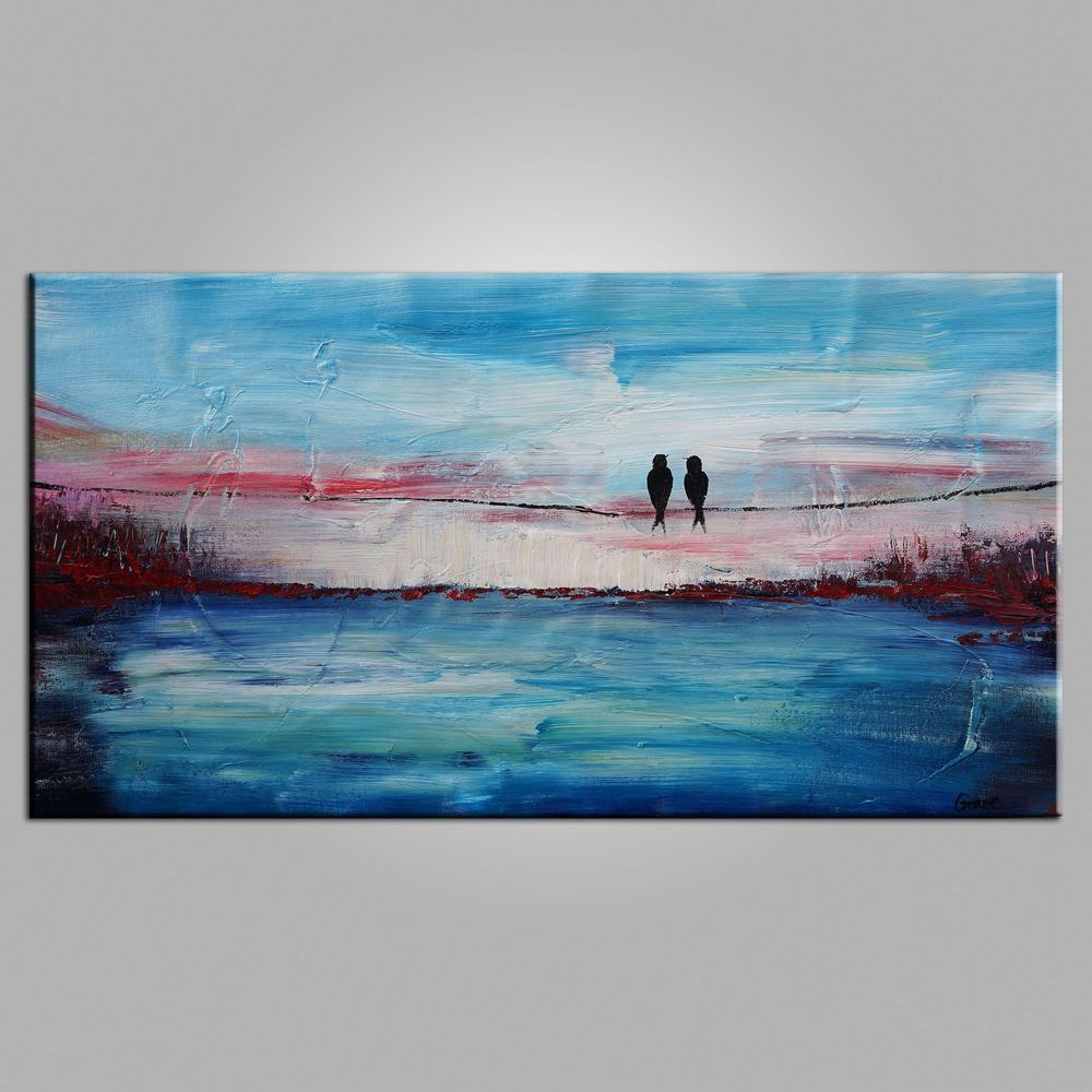 Abstract Art, Contemporary Wall Art, Buy Modern Art, Love Birds Painting, Art for Sale, Abstract Art Painting, Living Room Wall Art-Paintingforhome