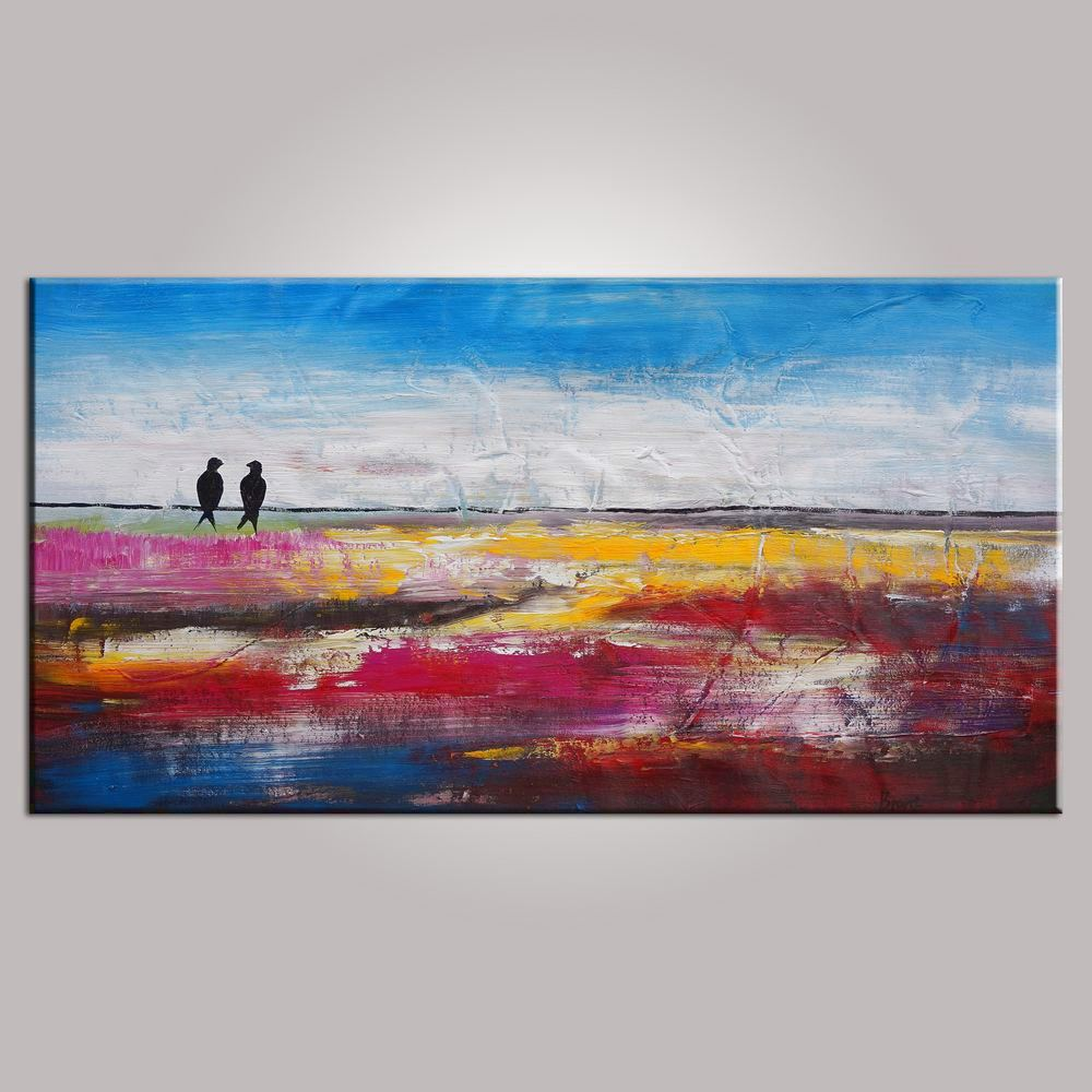 Love Birds Painting, Contemporary Wall Art, Abstract Art, Modern Art, Painting for Sale, Abstract Art Painting, Bedroom Wall Art, Canvas Art