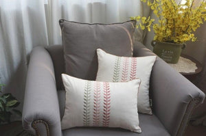 Decorative Throw Pillow, Embroider Leaves Cotton Pillow Cover, Sofa Pillows, Home Decor