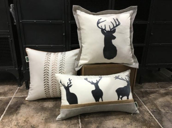 Embroider Elk Cotton Pillow Cover, Decorative Throw Pillow, Sofa Pillows, Home Decor-Paintingforhome