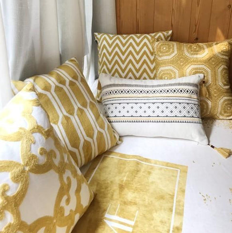 Cotton Yellow Pillow Cover, Decorative Throw Pillow, Sofa Pillows, Home Decoration