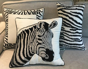 Chenille Zebra Pillow Cover, Decorative Throw Pillow, Sofa Pillows, Home Decoration - Paintingforhome