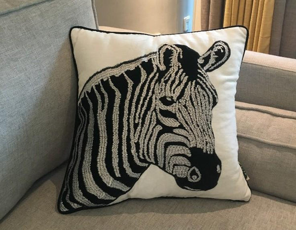 Chenille Zebra Pillow Cover, Decorative Throw Pillow, Sofa Pillows, Home Decoration