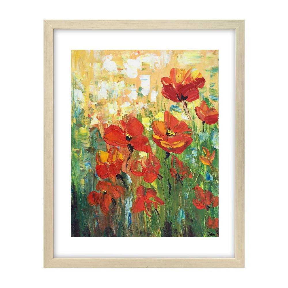 Red Poppy Field Painting, Small Painting, Heavy Texture Oil Painting, Abstract Painting-Paintingforhome