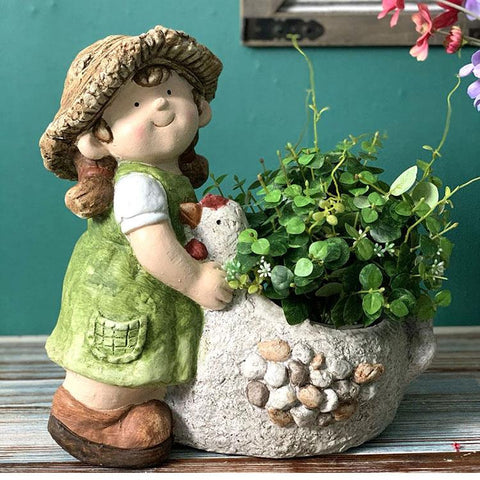 Extra Large Figure Statue, Boy and Girl Flower Pot, Figure Statue for Garden Ornament, Modern Outdoor Decoration, Garden Ideas-Paintingforhome