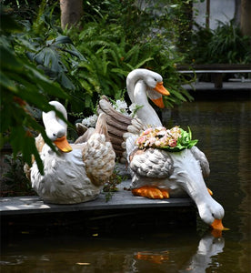 Extra Large Swan Flower Pot, Swan Statues, Animal Statue for Garden Ornament, Villa Courtyard Decor, Outdoor Decoration, Garden Ideas-Paintingforhome