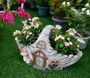 Extra Large Flower Basket Flower Pot, Rustic Outdoor Decoration, Garden Ornaments, Garden Ideas-Paintingforhome