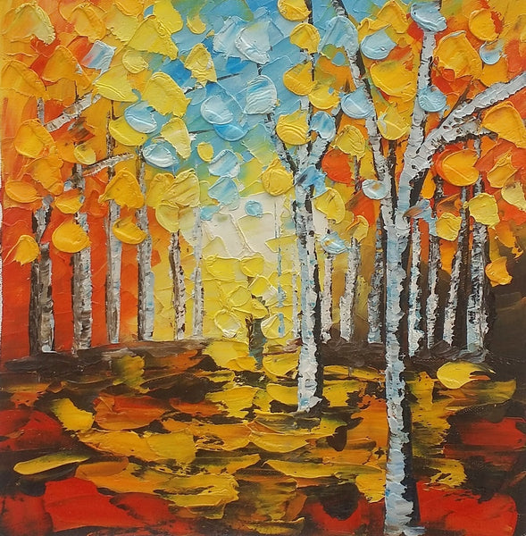 Small Painting, Landscape Oil Painting, Canvas Painting, Autumn Tree, Lovely Small Art-Paintingforhome