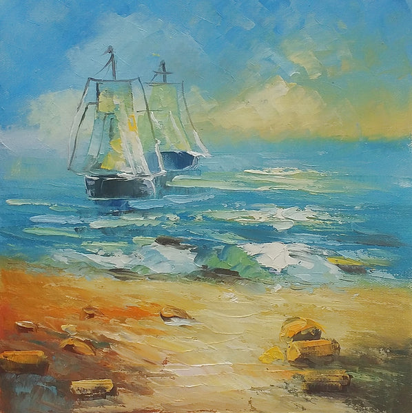 Sail Boat at Seashore, Small Oil Painting, Art Painting, Canvas Painting, Small Painting-Paintingforhome