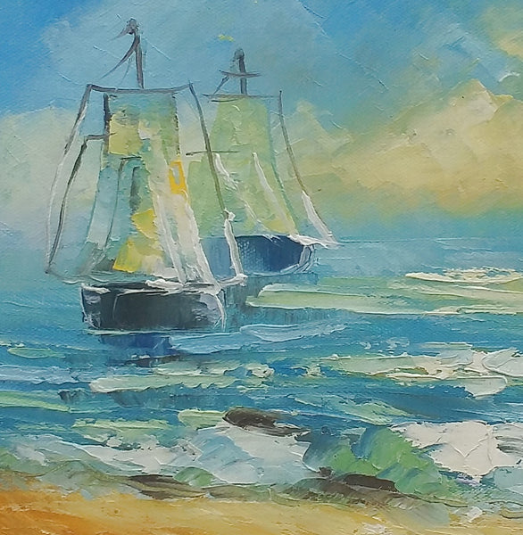 Sail Boat at Seashore, Small Oil Painting, Art Painting, Canvas Painting, Small Painting