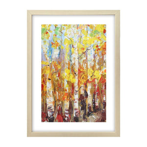 Small Painting, Heavy Texture Oil Painting, Birch Tree Painting, Abstract Painting