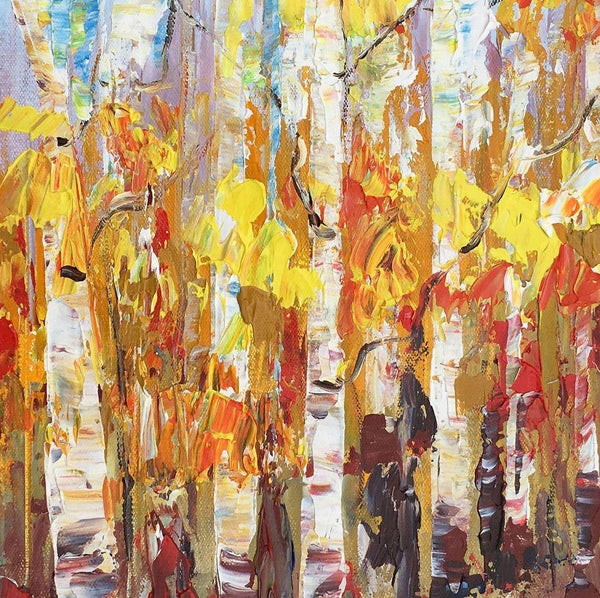 Small Painting, Heavy Texture Oil Painting, Birch Tree Painting, Abstract Painting-Paintingforhome