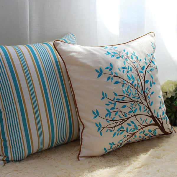Embroider Tree Cotton and linen Pillow Cover, Decorative Throw Pillow, Rustic Sofa Pillows-Paintingforhome