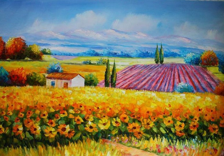 Canvas Painting, Landscape Painting, Sunflower Field, Wall Art, Large Painting, Living Room Wall Art, Cypress Tree, Oil Painting, Canvas Art, Autumn Painting
