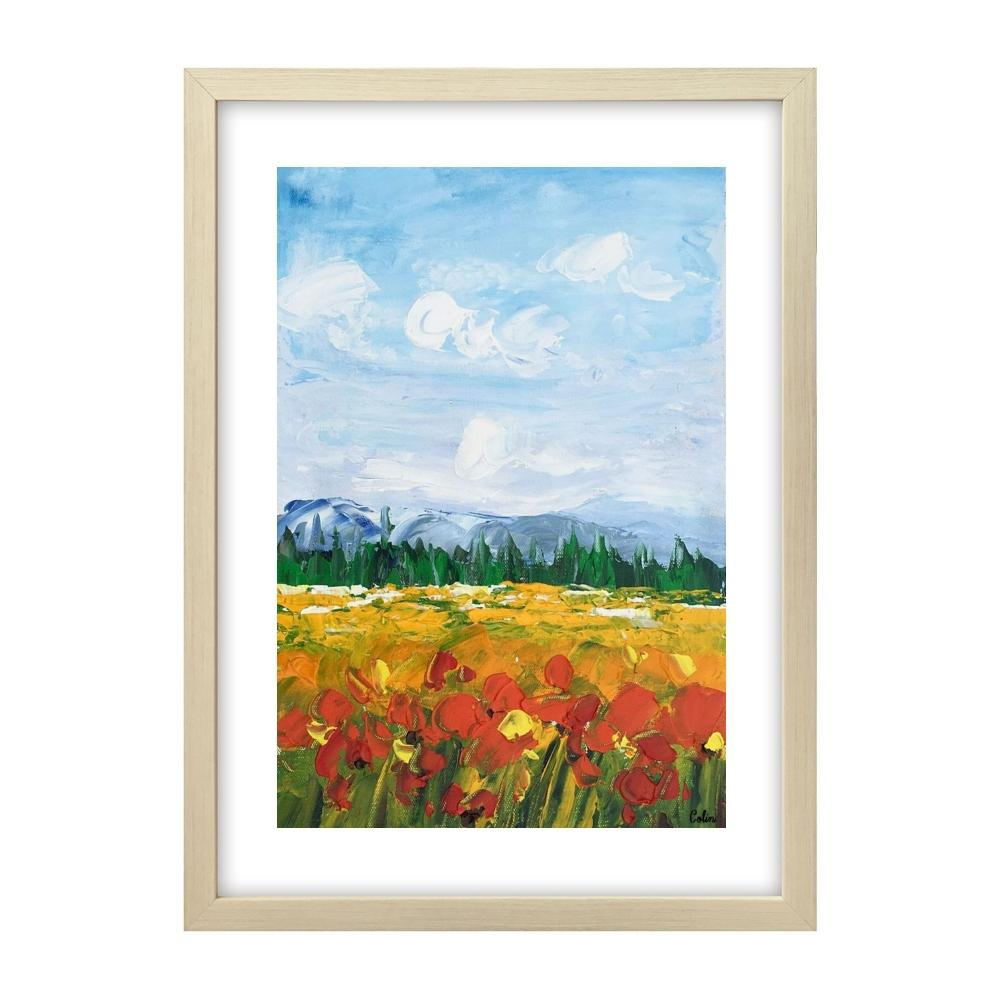 Small Painting, Heavy Texture Oil Painting, Red Poppy Field Painting, Abstract Painting-Paintingforhome