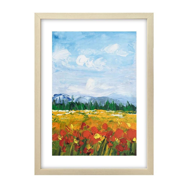 Small Painting, Heavy Texture Oil Painting, Red Poppy Field Painting, Abstract Painting