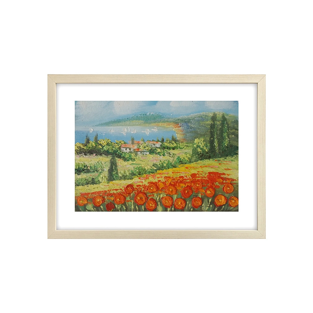 Red Poppy Field Painting, Landscape Painting, Heavy Texture Art Painting, Small Painting-Paintingforhome