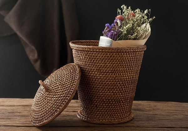 Indonesia Hand Woven Storage Basket with Cover, Natural Fiber Baskets, Small Rustic Basket