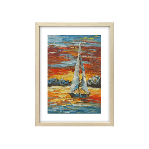 Heavy Texture Oil Painting, Sail Boat Painting, Canvas Painting, Small Painting-Paintingforhome