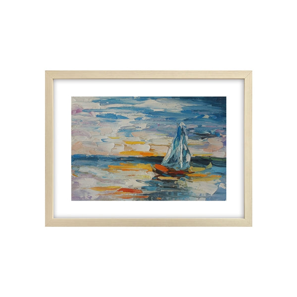 Sail Boat Painting, Canvas Painting, Heavy Texture Oil Painting, Small Painting-Paintingforhome