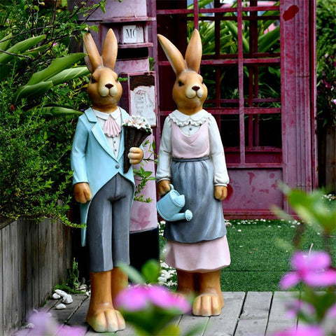 Extra Large Rabbit Couple Statue, Rabbit Statues, Animal Statue for Garden Ornament, Villa Courtyard Decor, Outdoor Decoration, Garden Ideas-Paintingforhome