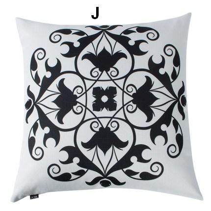 Decorative Throw Pillow, Black and White Cotton and linen Pillow Cover, Sofa Pillows, Housewares-Paintingforhome