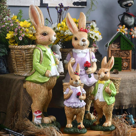 Extra Large Rabbit Family Flower Pot, Rabbit Statues, Animal Statue for Garden Ornament, Villa Courtyard Decor, Outdoor Decoration, Garden Ideas-Paintingforhome