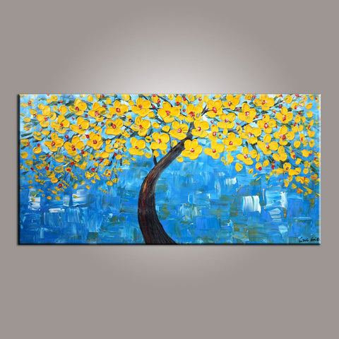 Tree Painting, Painting on Sale, Flower Art, Abstract Art Painting, Canvas Wall Art, Bedroom Wall Art, Canvas Art, Modern Art, Contemporary Art-Paintingforhome