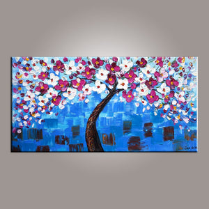 Flower Tree Painting, Abstract Art Painting, Painting on Sale, Canvas Wall Art, Dining Room Wall Art, Canvas Art, Modern Art, Contemporary Art-Paintingforhome