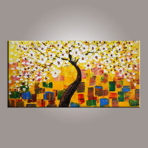 Painting on Sale, Flower Tree Painting, Abstract Art Painting, Canvas Wall Art, Dining Room Wall Art, Canvas Art, Modern Art, Contemporary Art-Paintingforhome