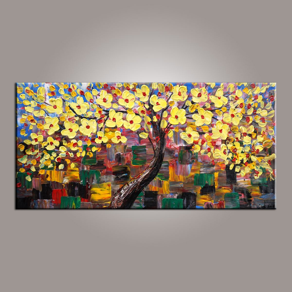 Flower Tree Painting, Canvas Wall Art, Abstract Art Painting, Painting on Sale, Dining Room Wall Art, Canvas Art, Modern Art, Contemporary Art