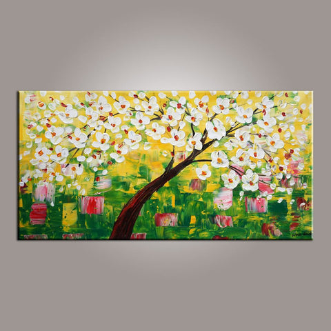 Canvas Wall Art, Flower Tree Painting, Abstract Art Painting, Painting on Sale, Dining Room Wall Art, Canvas Art, Modern Art, Contemporary Art-Paintingforhome