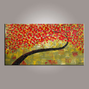 Painting on Sale, Canvas Art, Red Flower Tree Painting, Abstract Art Painting, Dining Room Wall Art, Art on Canvas, Modern Art, Contemporary Art-Paintingforhome