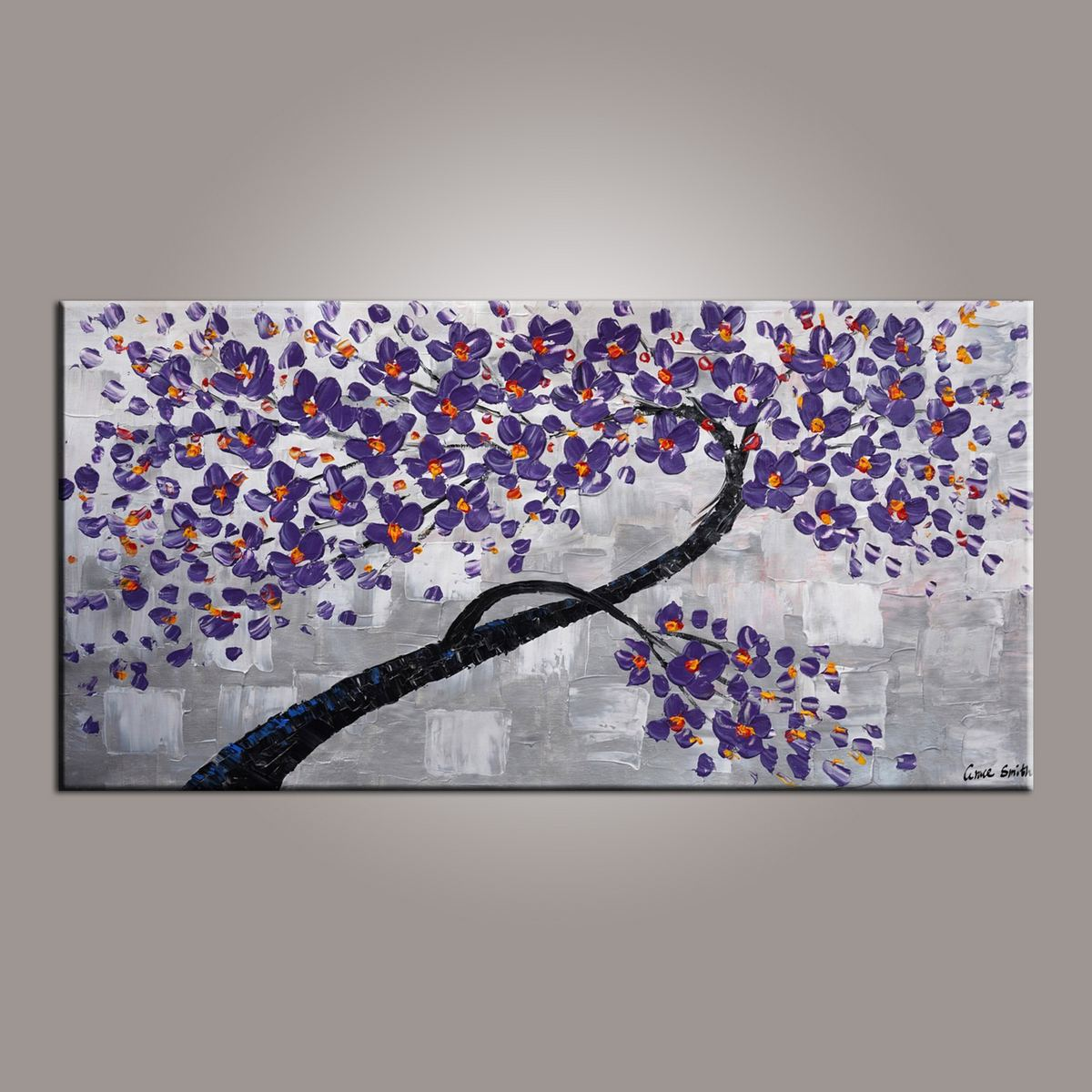 Painting on Sale, Purple Flower Tree Painting, Abstract Art Painting, Dining Room Wall Art, Art on Canvas, Modern Art, Contemporary Art-Paintingforhome