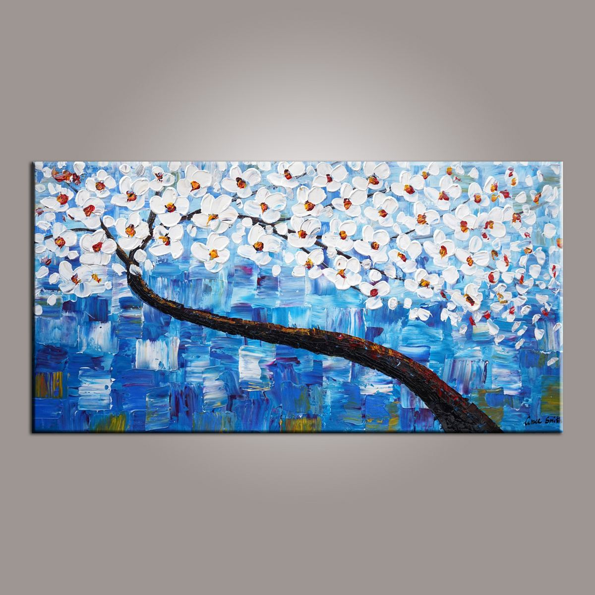 Painting on Sale, Flower Painting, Dining Room Wall Art, Blue Flower Tree Painting, Abstract Painting, Art on Canvas, Modern Art, Contemporary Art-Paintingforhome