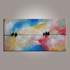Modern Art, Abstract Art, Love Birds Painting, Painting for Sale, Contemporary Art, Flower Art, Abstract Art, Living Room Wall Art, Canvas Art-Paintingforhome