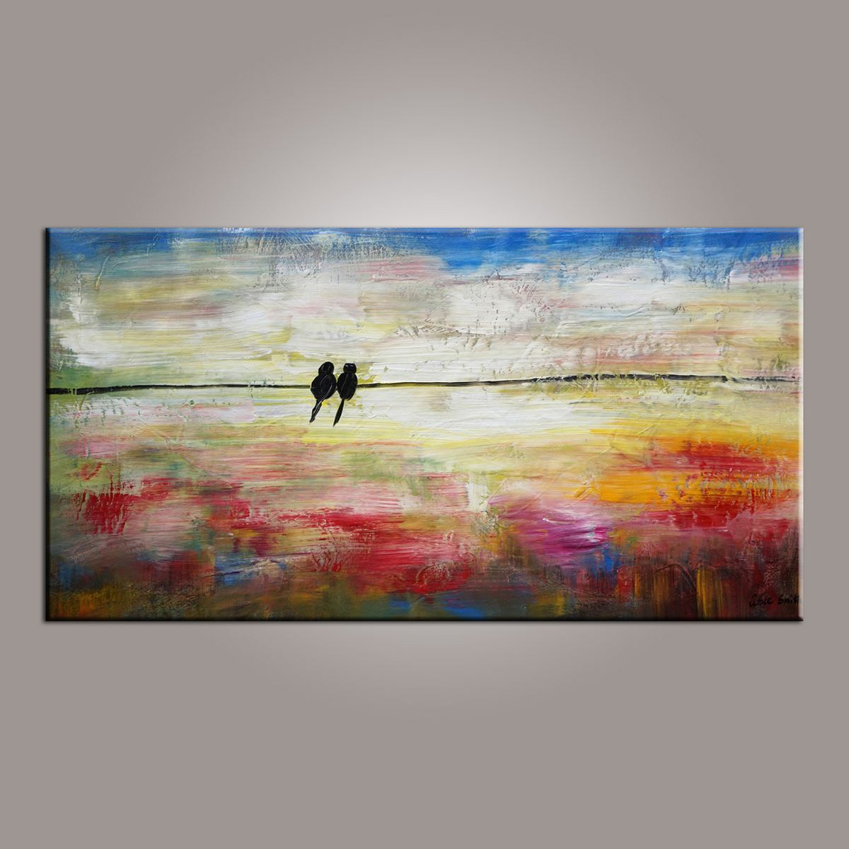 Modern Art, Abstract Art, Love Birds Painting, Painting for Sale, Contemporary Art, Flower Art, Abstract Art, Living Room Wall Art, Canvas Art
