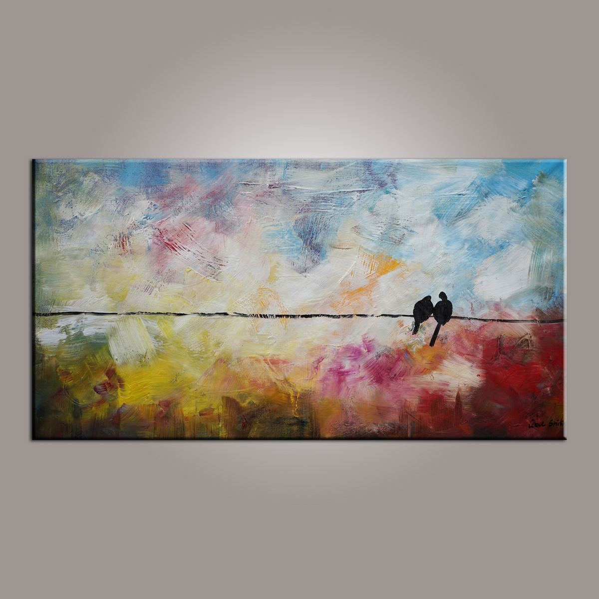Painting for Sale, Modern Art, Abstract Art, Love Birds Painting, Contemporary Art, Flower Art, Abstract Art, Living Room Wall Art, Canvas Art-Paintingforhome