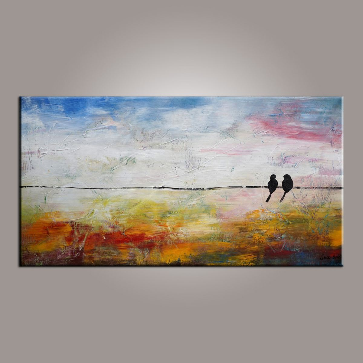 Love Birds Painting, Painting for Sale, Modern Art, Abstract Art, Contemporary Art, Abstract Art, Living Room Wall Art, Canvas Art-Paintingforhome